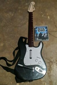 Ps3 Rock Band Game Bundle WirelessFender Stratocaster Guitar Tested no dongle