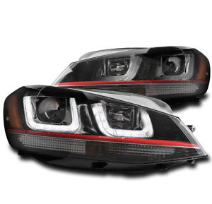 FOR 15-17 VW GOLF GTI MK7 LED RED LINE PROJECTOR HEADLIGHTS HEADLAMPS LAMP BLACK