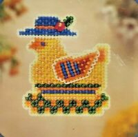 2004 NIP Counted Glass Bead Brooch Pin Embroidery Kit Chicken A La Mode 7490F