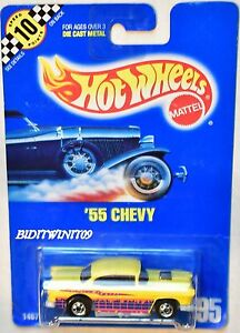 HOT WHEELS 1990 BLUE CARD '55 CHEVY #95 YELLOW