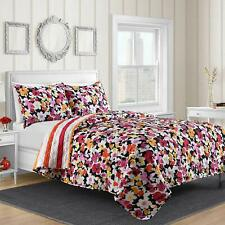 Shannon Reversible 3-Piece King Quilt Set w/Reusable Tote Bag in Pink Floral