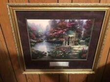 "Framed Thomas Kinkade Matted Collector's Print ""The Garden of Prayer"" with COA"