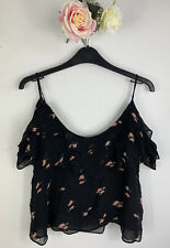 Zara Black Floral Ruffle Cold Shoulder Latered Crop Top Cami, Size M ( 8 10)