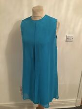 Vestido de noche Vintage años 60 superposición de gasa azul mini Mod UK 10-12 S/M