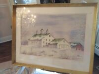 Signed Mary Green La Forge Original ART Watercolor Farm Barn landscape Conn.