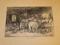 E.ROY (XIX-XX) DESSIN ENCRE NOIRE ECURIE FERME CHEVAUX TRAIT POULES BABRBIZON