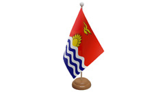Kiribati Small Table Flag with Wooden Stand