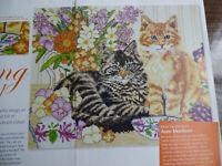 X Stitch Chart Sitting Pretty 2 Cute Kittens Ginger & Tabby Anne Mortimer 0017C