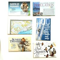 National Geographic Maps and Inserts Lot of 6: World Map, Dawn of Humans, & Etc