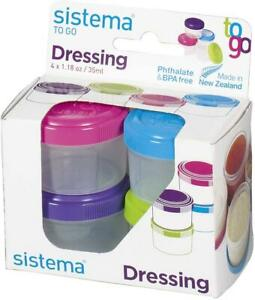 4 x Sistema Dressing Pots To Go 35ml Snack & Dip Food Containers Tubs with Lids