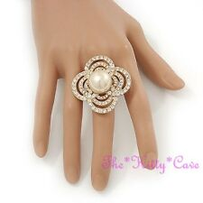 Big Gold Plt Stylised Simulated Pearl Flower Cocktail Ring w/ Swarovski Crystals