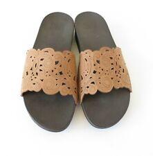 FITFLOP Tan Nubuck Leather Laser Cut Flora Slide Sandals UK 8 Worn Once Summer