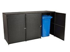 Mülltonnenbox 3er Mülltonnenhaus 3-er  bis 120 Liter, 129x66x109cm, Rattan braun
