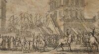 J.CALLOT (*1592) zug., Hafenszene, Aufbruch der Soldateska, 17.Jh., Radierung