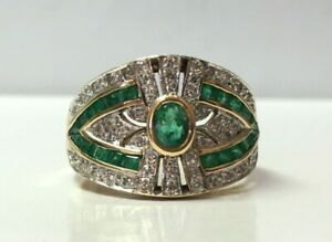 18K Vintage Art Deco Style Emerald and Diamond Ring Size 7.25