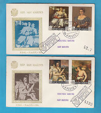 2 BUSTE FDC SAN MARINO RACCOMANDATA F.A.I.P. 4 V. TIZIANO 1966 FIRST DAY COVER