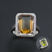 Emerald cut color change diaspore 925 sterling silver ring for women sz 5-12