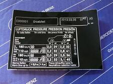 "Mercedes Sticker ""Tire Pressure"" Tank Hatch W124 Station Wagon. NEW Edition!"
