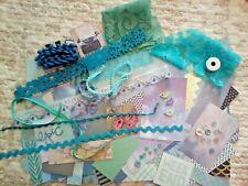Junk journal/scrapbooking scrap pack 160+ blue scrap papers, trims,buttons, etc.