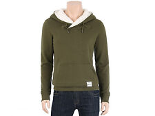 TATE Mens Casual Fur Lining Hood Detailed Hoodie Sweatshirt Khaki Slim Size M