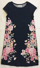 Abercrombie Kids Navy Blue Textured Sheath With Floral Print Sz L (14) EUC