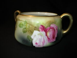 c.1900 RS GERMANY BISCUIT CRACKER JAR NO LID PINK WINE WHITE CABBAGE ROSES GREEN