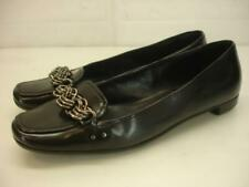 Women's 6.5 36.5 Prada Black Leather Silver Chain Ballet Flat Shoes Loafer Italy