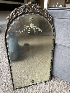 """Vintage Scalloped Scallop Edge Etched Wall Hall Mirror MId Century 20"""" X 10.5"""""""