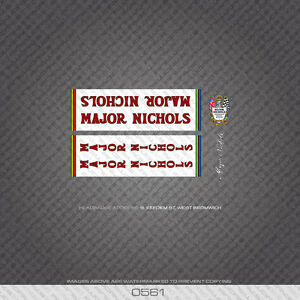 0561 Major Nichols Bicycle Frame Stickers - Decals - Transfers