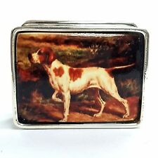 ENAMEL VICTORIAN STYLE DOG  PILL BOX 925 STERLING SILVER HALLMARKED