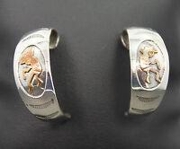Kokopelli Sterling Silver Half Hoop Earrings