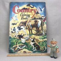 """Unused """"Country Coloring Book"""" Vintage 1951 Saalfield Unused Farm Barn Animals"""