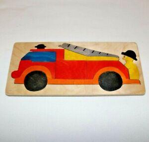 Handmade Fire Truck Small Wooden Jigsaw Puzzle Hand Painted Folk Art Unique EUC