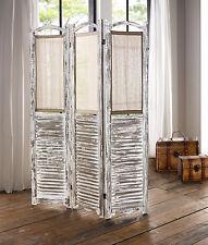 Paravent Spanische Wand weiß Holz u. Stoff-Einsätze shabby vintage dreigliedrig