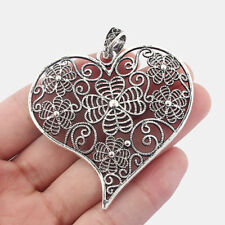 3 Antique Silver Large Hollow Heart Charms Pendant 63mm Jewelry Making Findings
