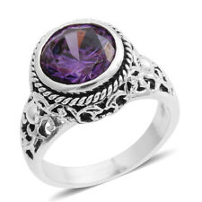 PURPLE SIMULATED DIAMOND SOLITAIRE BRILLIANT SILVER TONE RING SIZE 9 FILIGREE