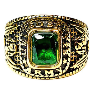 Mens Simulated Emerald US Army Gold-Tone Stainless Steel Military Ring