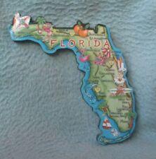 Fun Florida Map Wood Magnet Souvenir Travel Refrigerator