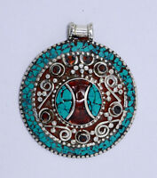 Sterling Silver Locket Turquoise coral beads Pendant Ethnic Regional jewelry K27