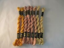 Vintage DMC 3 Cotton Perle Embroidery Thread New 15 M 8 Skeins Assorted Yellows
