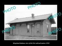 OLD LARGE HISTORIC PHOTO OF KINGSLAND INDIANA, ERIE RAILROAD STATION c1910