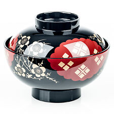 Black and Red Japanese Miso Soup Bowl and Lid