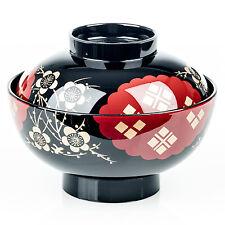 negro y Rojo Japonés Miso Cuenco Sopero y Tapa
