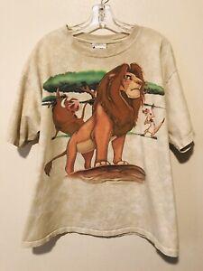 vtg 90's THE LION KING t-shirt MUFASA movie DISNEY men's XL tan TIE DYE USA