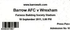 Wrexham Football Non-League Fixture Tickets & Stubs