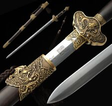 Hand Forged pattern steel sharp Water dragon Sword Copper Carved Fittings #4992