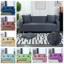 1-4 Seater Modern Sofa Cover Linen Pattern Washable Stretch Slipcover Stretch