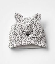 GAP Baby / Toddler Girl M / L / 4T / 5T White Gray Leopard Cat Fleece Hat w/Ears