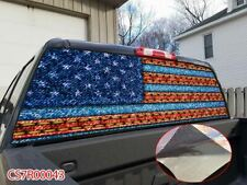 AMERICAN FLAG Blue/Red distressed Rear Window Tint Graphic Decal Wrap Back Truck