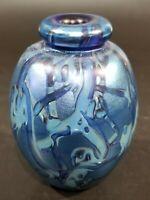 "Robert Eickholt Dichroic SIGNED 1989 Art Glass Blue Vase, 3.5"" H, Hand Blown EUC"
